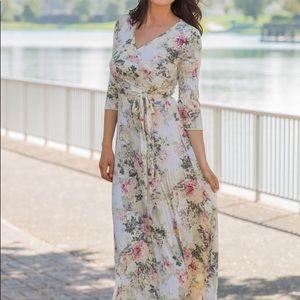 Ivory Floral Maxi Wrap Maternity Dress